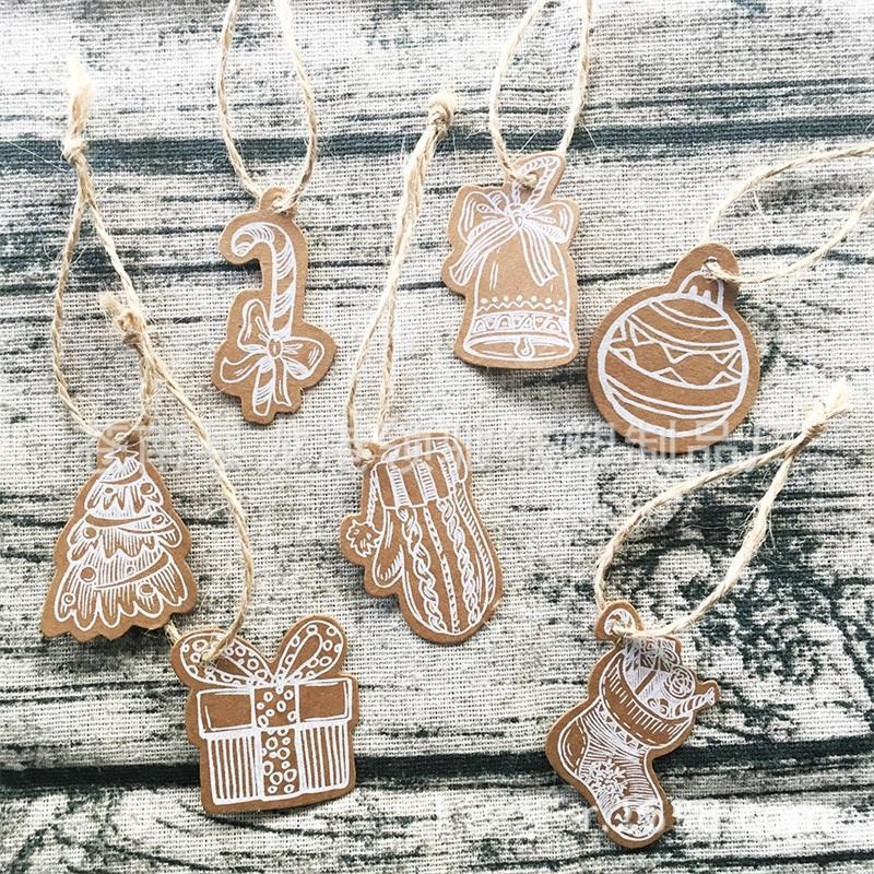 10 estilos de decoração de Natal Meias Tag Luvas Muletas Shaped Wish cartão de papel Kraft Mini Etiquetas Party Supplies 3 1lc E1