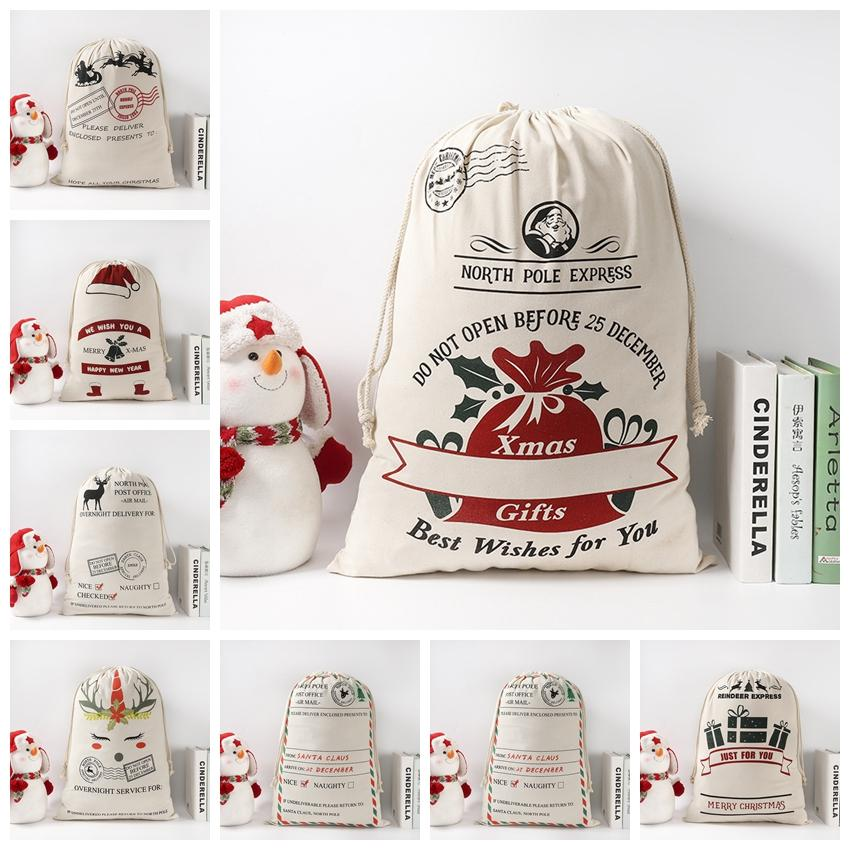 9 Styles Christmas Gift Bag Santa Sack Drawstring Bags Canvas Santa Sacks Storage Print Gift Bags Xmas Decoration LJJP581