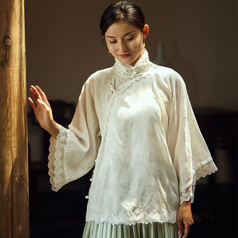 Para top Brasão Lace Oak rendas novo estilo chinês crossbody colar costura grande camisa de manga R20515 blusa 99qaR top feminino