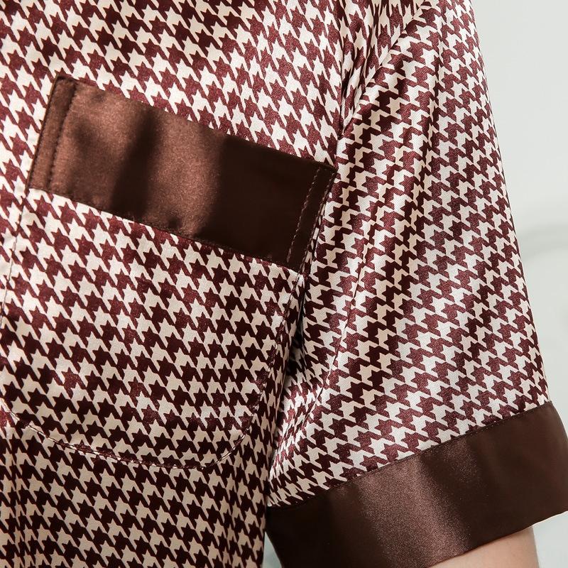 EwpwV V-COLS Printemps-été « S Pyjamas COURTES XL conviennent mince manteau imprimé Pyjama soie pyjama de soie de qualité COAT