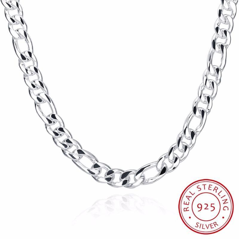 """24"""" reine reale 925 Sterlingsilber Figaro Ketten-Halsketten Frauen Männer Schmuck-Freund-Geschenk 60cm 10mm Colier Großhandel"""