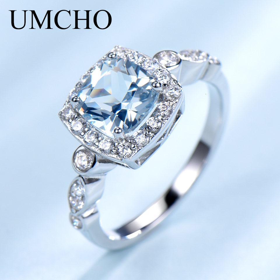 UMCHO Echt S925 Sterling Silber-Ringe für Frauen Blue Topas Ring-Edelstein Aquamarin Kissen romantische Geschenk-Verpflichtungs-Schmucksachen LY191203