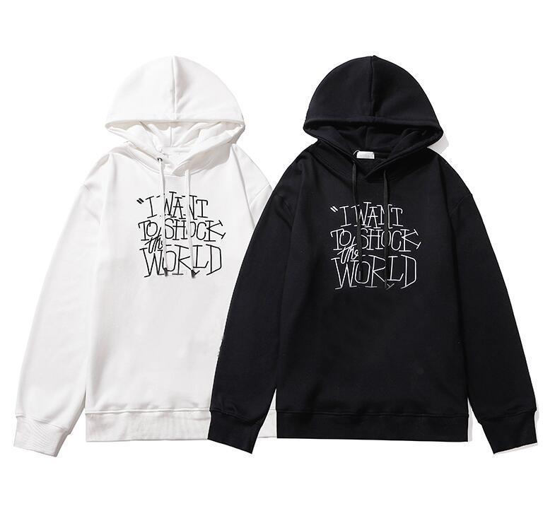 20FW Moda Hoodies por Homens letras impressas Mulheres Moletons Homme Pullovers Streetwear com capuz bordado Tops Vestuário Masculino
