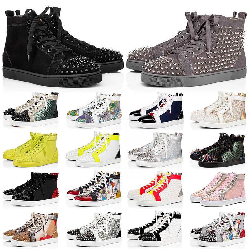 مع مربع أحذية loafers Red Bottom الأحذية الكاجوال Junior Studded Spikes Platform Designers Red Bottoms أحذية ماركة فاخرة أحذية رياضية للرجال والنساء مقاس 13