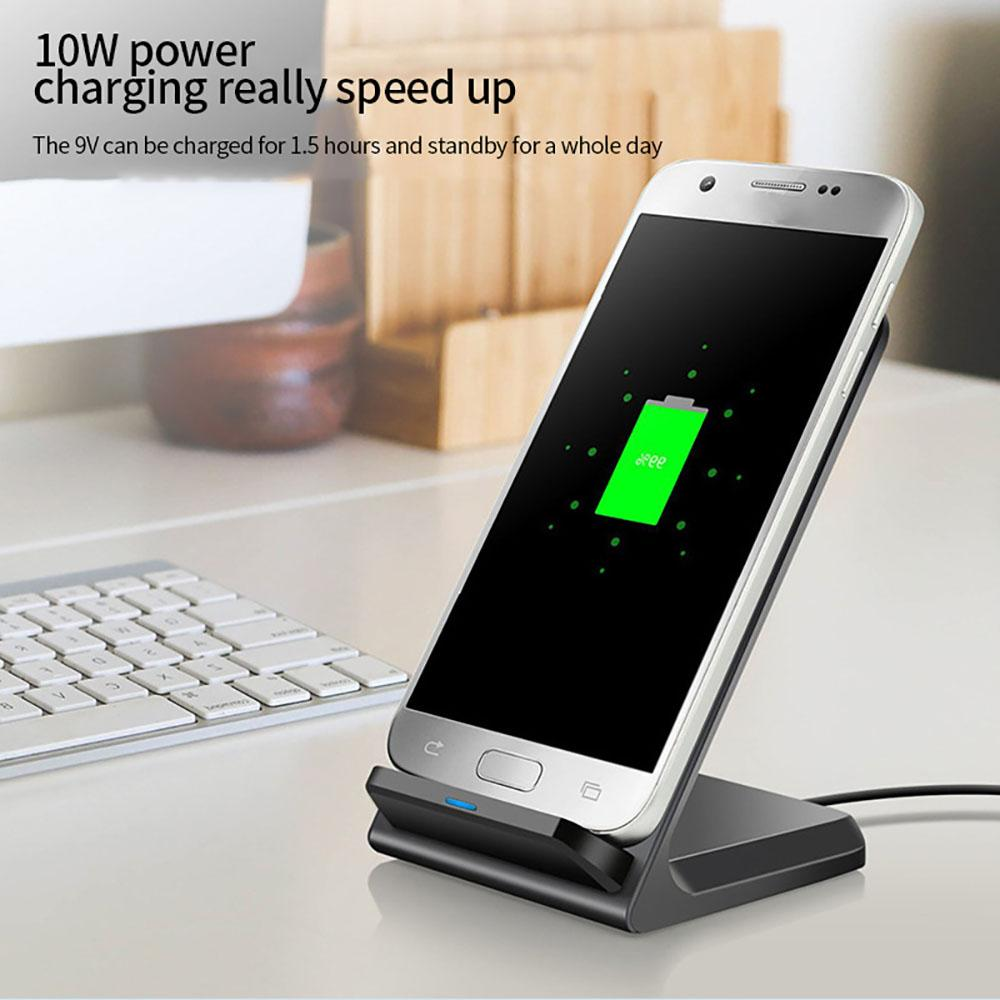 핫 수직 이동 전화 홀더 무선 휴대 전화 충전기 5W / 10W 빠른 무선 유도 이중 코일 충전기