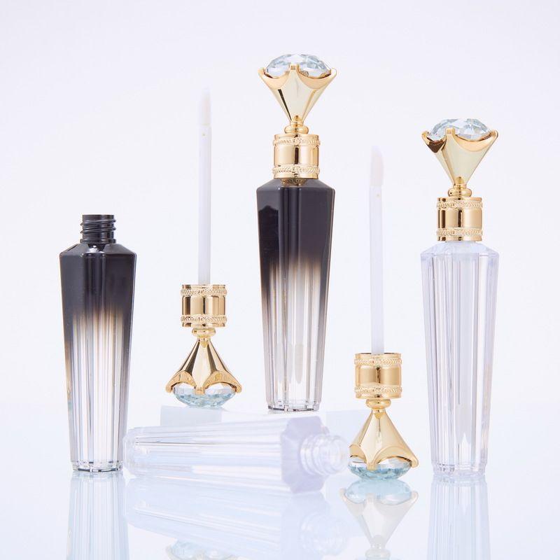 أزياء الماس الشفاه لمعان أنابيب واضحة فارغة الشفاه لمعان أنبوب الشفاه لمعان الزجاجة السفر زجاجة التعبئة والتغليف الحاويات إعادة الملء زجاجات شفاه