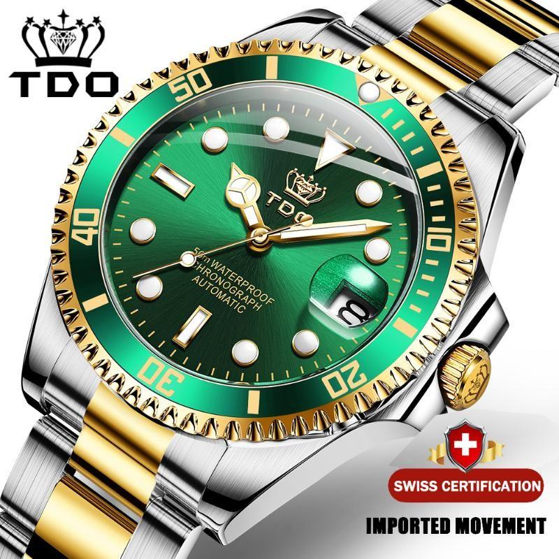 Montres-bracelets TDO 2021 Hommes de luxe Montre mécanique Montre en acier inoxydable Marque Sapphire Glass Montres Reloj Hombre G6084