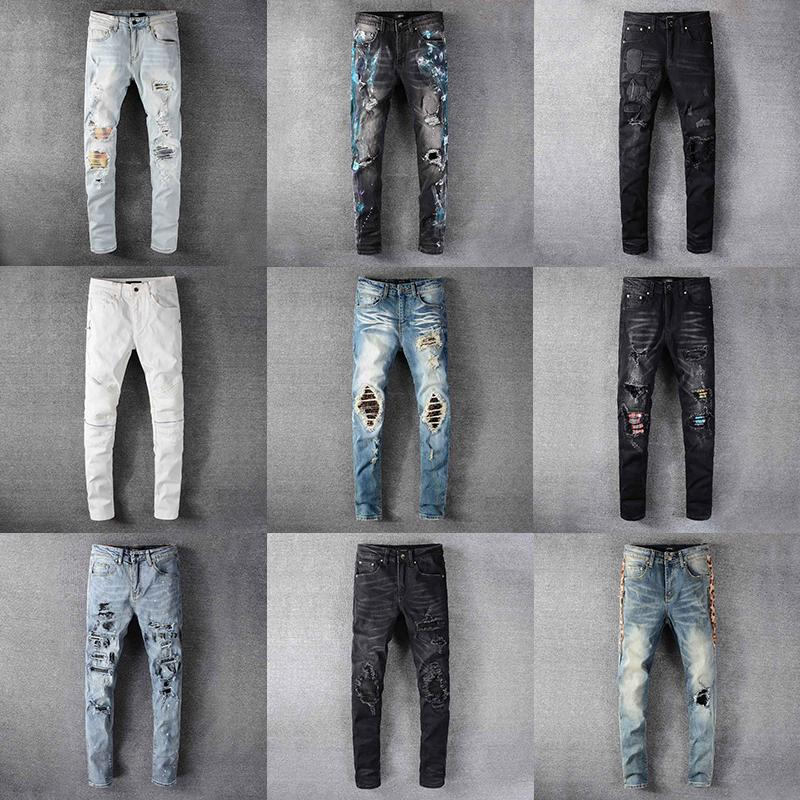 2020 Top-Qualitäts-Entwerfer Mens Amiri Jeans Luxury Denim Men Fashion Streetwear Biker Loch gerissen Abbindebatik Man Beliebte Hip Hop Jean Pants
