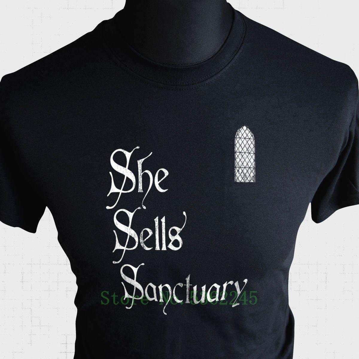 She Sells Sanctuary T Shirt The Cult Amor Retro Music Banda Tributo T 1985 Camiseta 5XL Mens T Shirt Print Homens T-shirt da aptidão