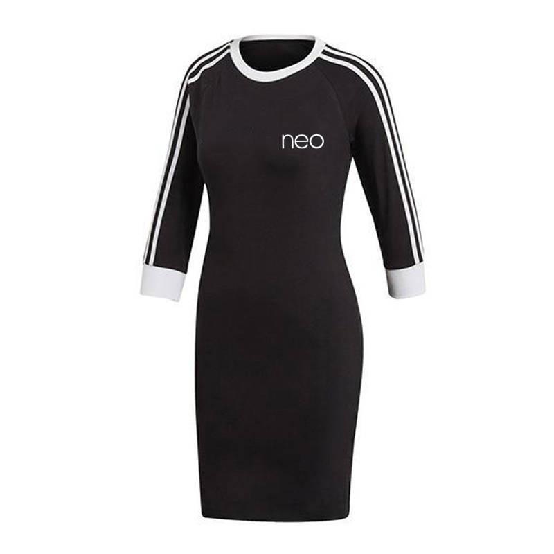Donne vestito da autunno del vestito di nuovo stile con le lettere Stampa Moda girocollo abito di alta qualità Asain Taglia M-2XL Nero Rosa