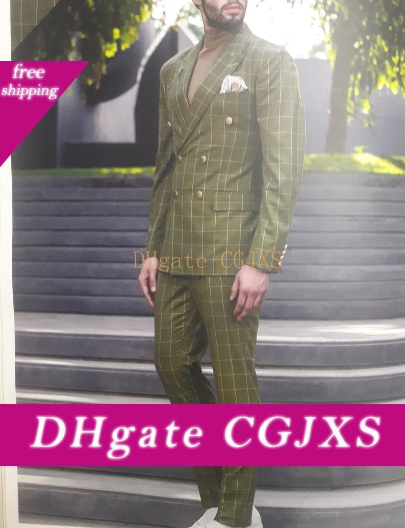Desgaste de moda de la boda de la tela escocesa novio esmoquin con muesca solapa del Mens 2020 Moda hombre chaqueta de la chaqueta de 2 piezas (pantalones de la chaqueta)