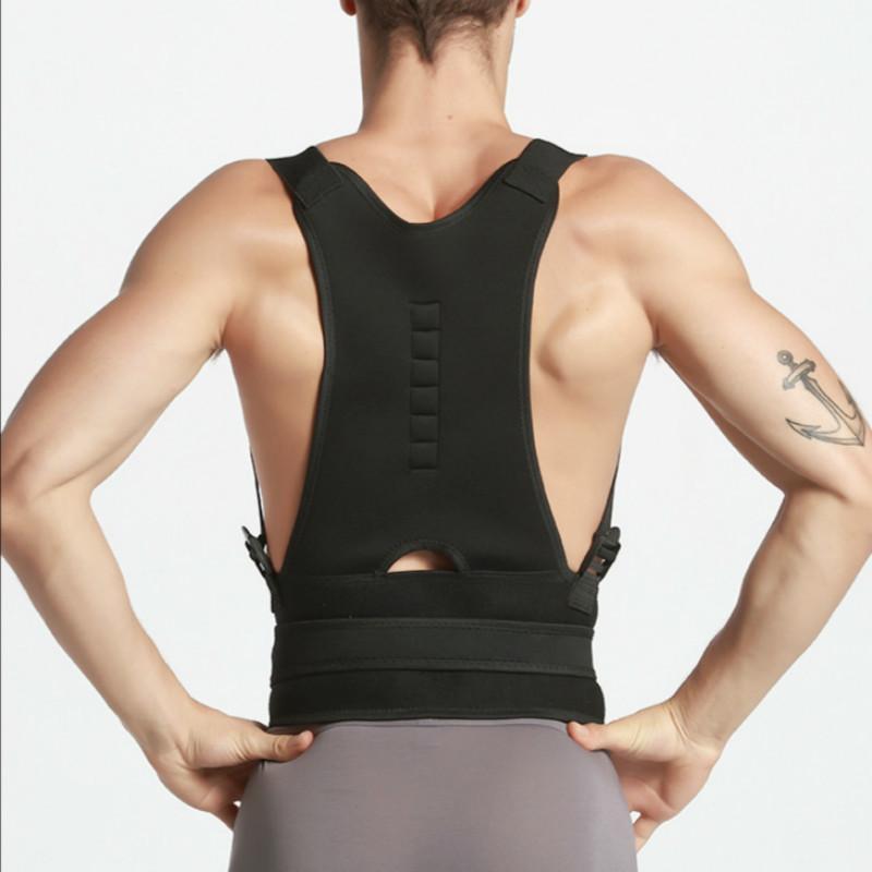 Back Brace Posture Corrector with Spine Adjustable Lumbar Shoulder Support Strap for Pain Relief Men Women Straightener