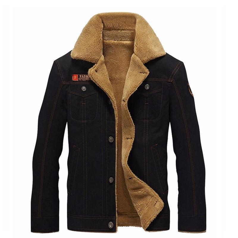 Invierno largo de la manga de la chaqueta de bombardero de los hombres chaqueta experimental caliente masculino para hombre Ejército cachemira casual Negro más el tamaño 5XL