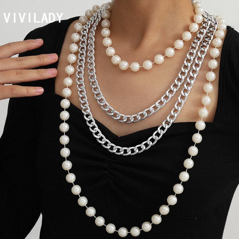 VIVILADY Punk Long Многослойной кисточка ручной Имитация Pearl сплав цепь Женщина Choker ожерелье Женская Свадебные украшения