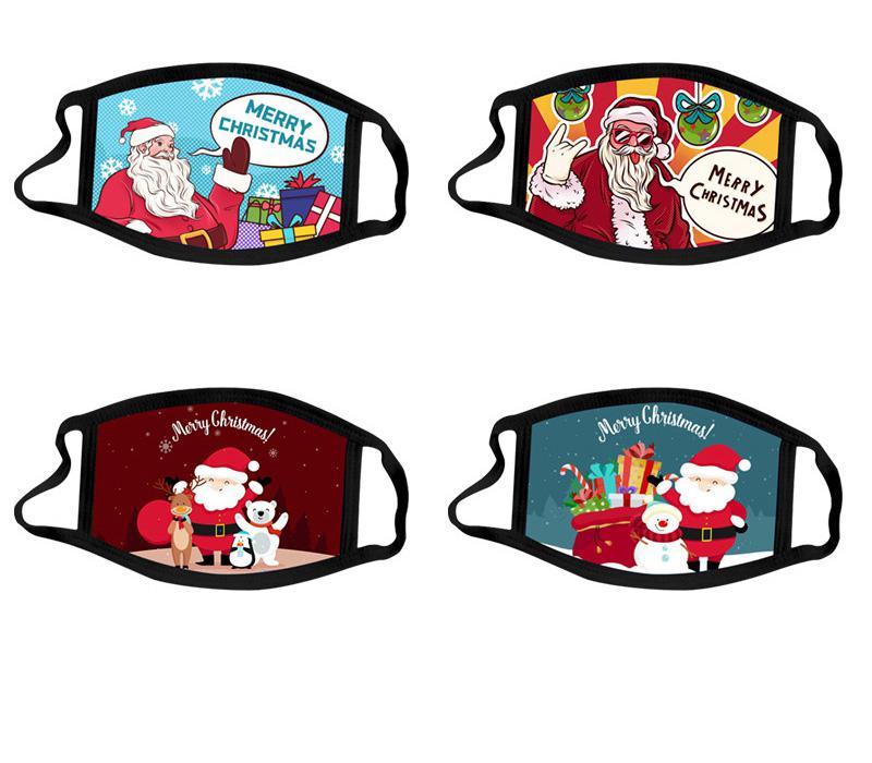Historieta del algodón de la máscara de la cara de Halloween lavable Navidad de Santa Claus Moda Adulto Menor D Impresión de Lucha contra el polvo respirable Niños Niño