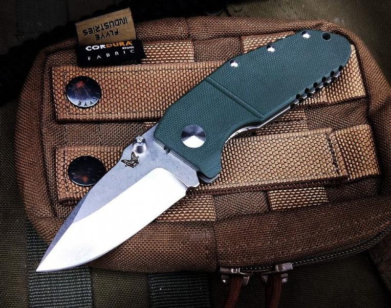 benchmade 755 M390 blade Hunting Pocket Knife Folding Knives titanium alloy + green G10 Handle a3039