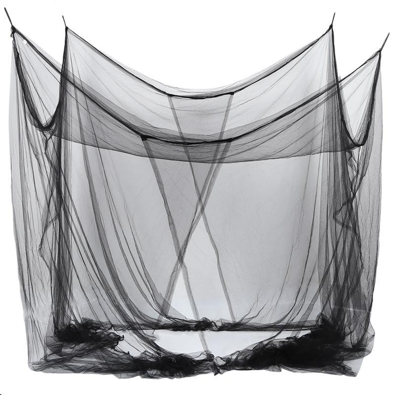 4-cama de canto Rede Canopy Mosquito Net para Queen / cama king size 190 * 210 * 240 centímetros (Black)