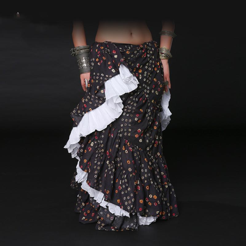 Belly Леди Танец Юбка Взрослые Женщины Хлопок Юбка сценического танца Костюм Традиционная Performance Tribal Maxi ATS01038