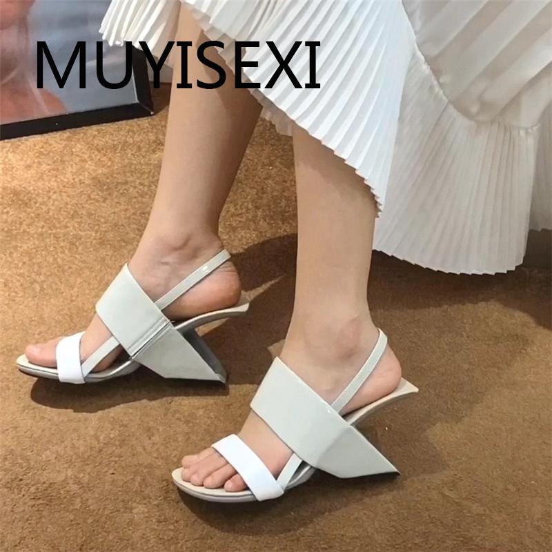 sandaletler HL267 MUYISEXI Kadınlar doğal deri peep toe 8 cm yüksek topuklu Fransız romantik parti rahat eğlence moda sığ kayma