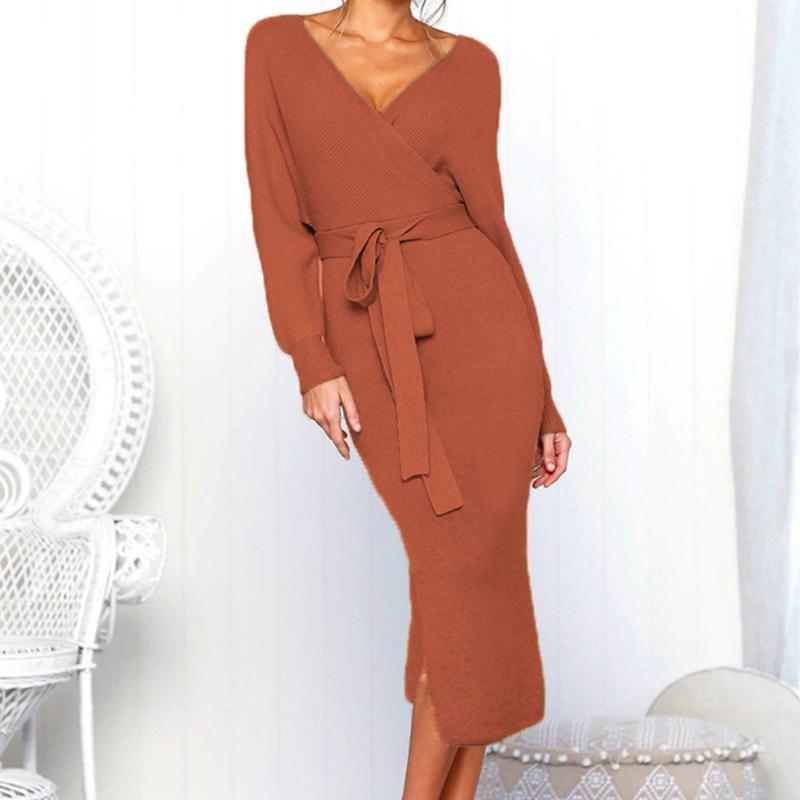 Mode Tricot Cocktail solide Une ligne à manches longues femmes robe sexy ceinture nouée Slim Réchauffez de Split col en V Automne Hiver