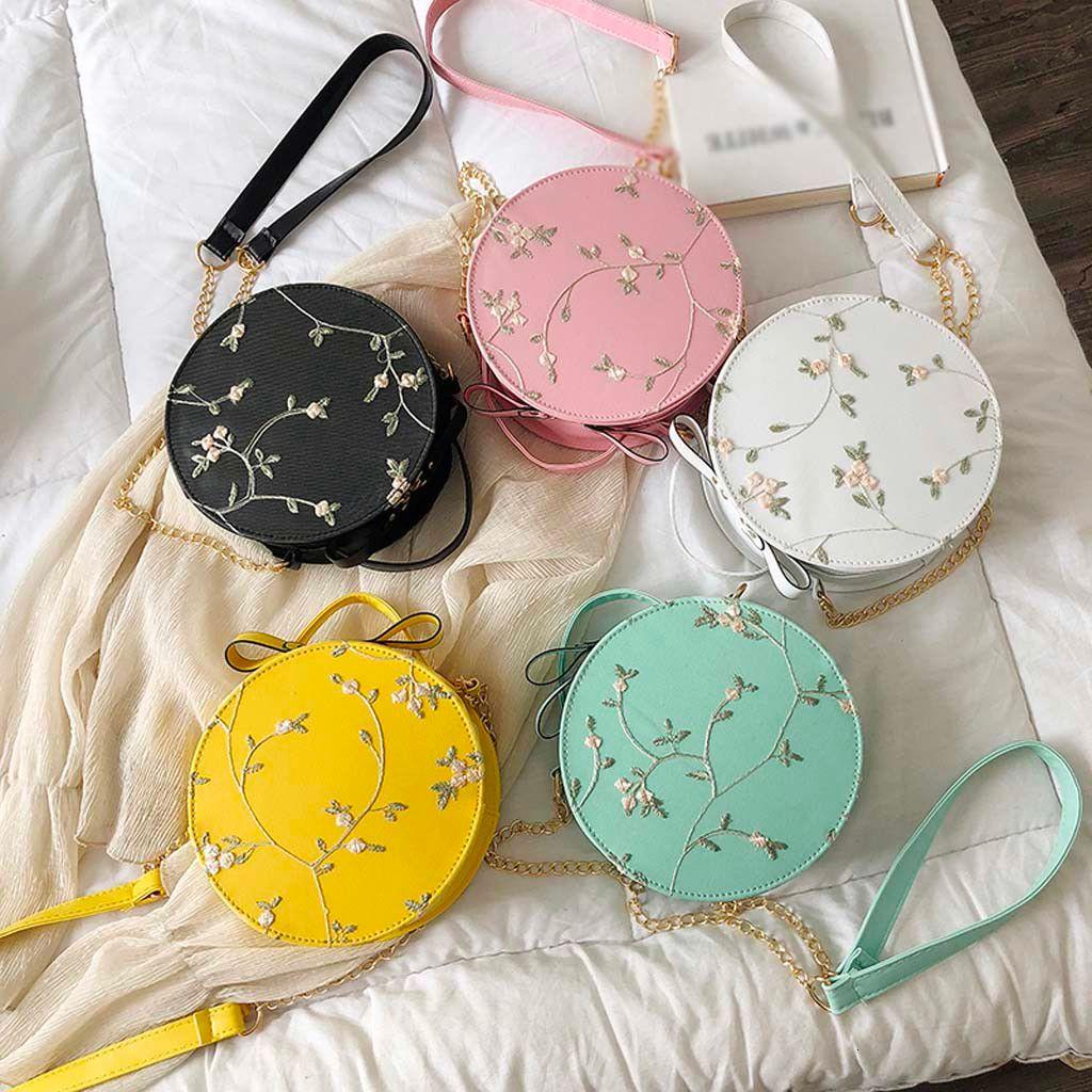 Bayan çanta Bayan Moda Dantel Çiçek Çanta Crossbody Çanta Katı Renk Küçük Yuvarlak Çanta Messenger Omuz 2020 Yeni