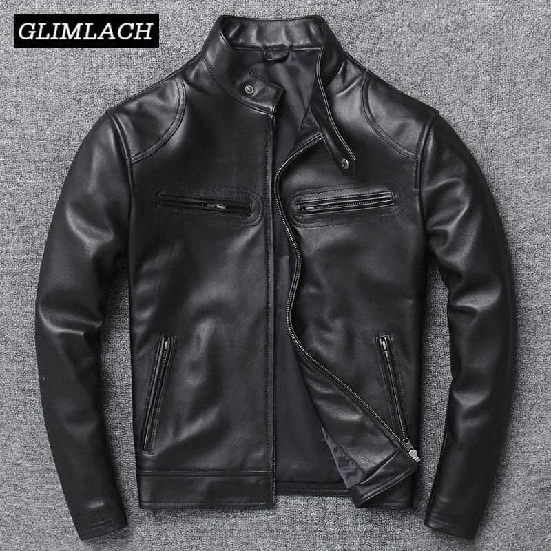 Luxury Leather Jacket genuino degli uomini nero di alta qualità Slim naturale agnello vera pelle Coat collare del basamento di pecora Outerwear fornaio islamico #