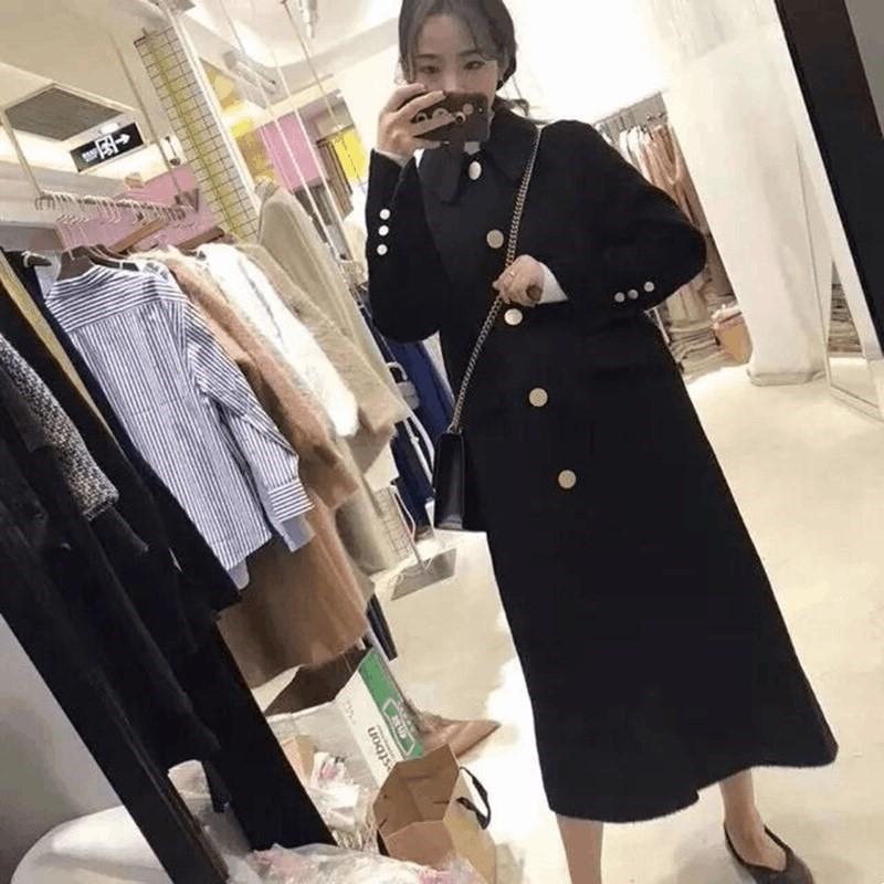 Хепберн стиль шерстяной для женщин 2020 нового черной корейской средней длиной выше колен тонкого шерстяного пальто для женщин пальто шерсти шерсть Wool