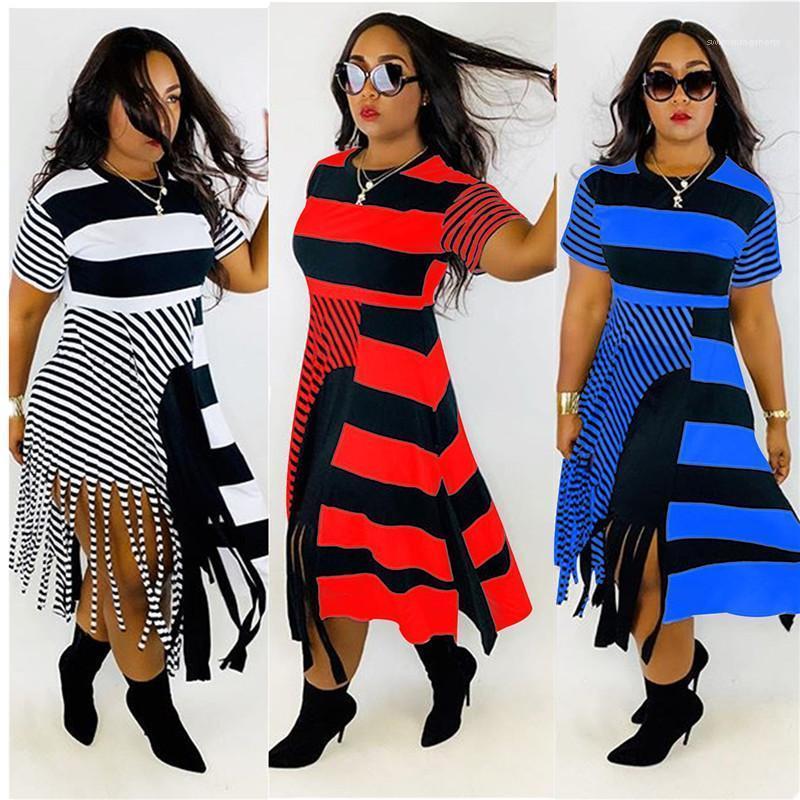 A righe stampato Abiti collo abiti del manicotto di modo Equipaggio brevi con la nappa Estate progettista delle donne con pannelli Dress Casual