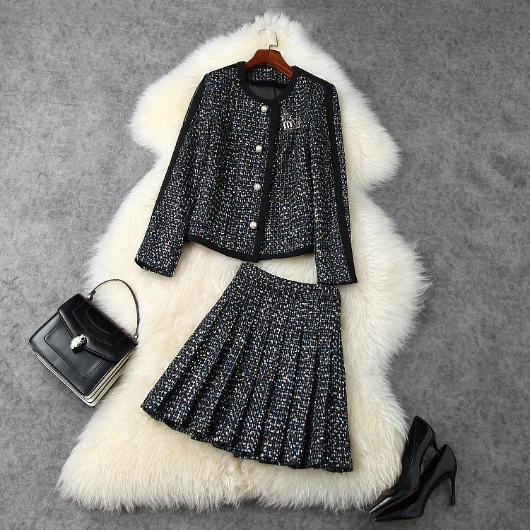 유럽과 미국의 여성 의류 2020 겨울 새로운 스타일의 긴 소매 페르시 트위드 코트 내기 패션 검은 색 정장 스커트
