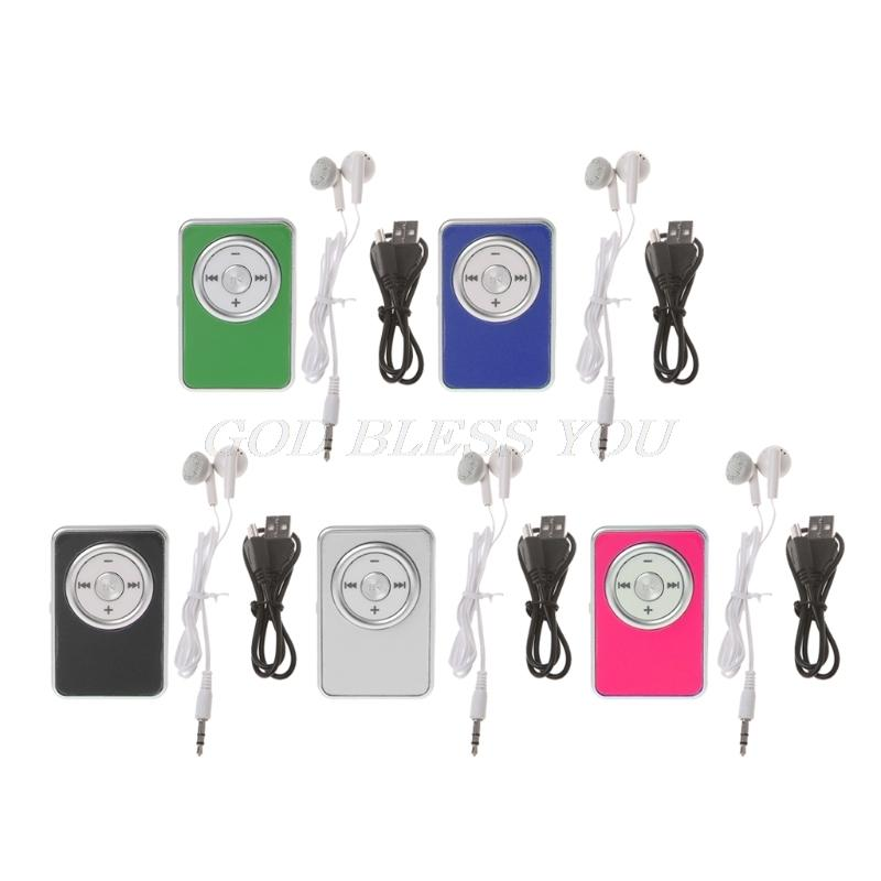 Mini Clip Music Media MP3 Player Support TF With Earphone USB Cable Drop Shipping