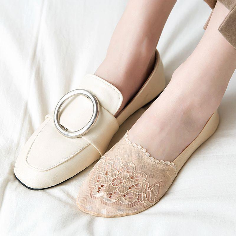 NUEVA Ped calcetines de las mujeres transparentes calcetines invisibles No Show mujeres del cordón del verano ahueca hacia fuera los deslizadores Barco