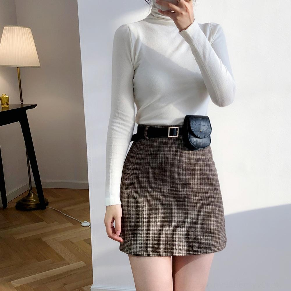 aWRjz BwTEO Luxi Hong Kong de style sac à carreaux Une jupe automne et hiver gaine pour enfants waist- Jupe en laine gainée laine de laine haute
