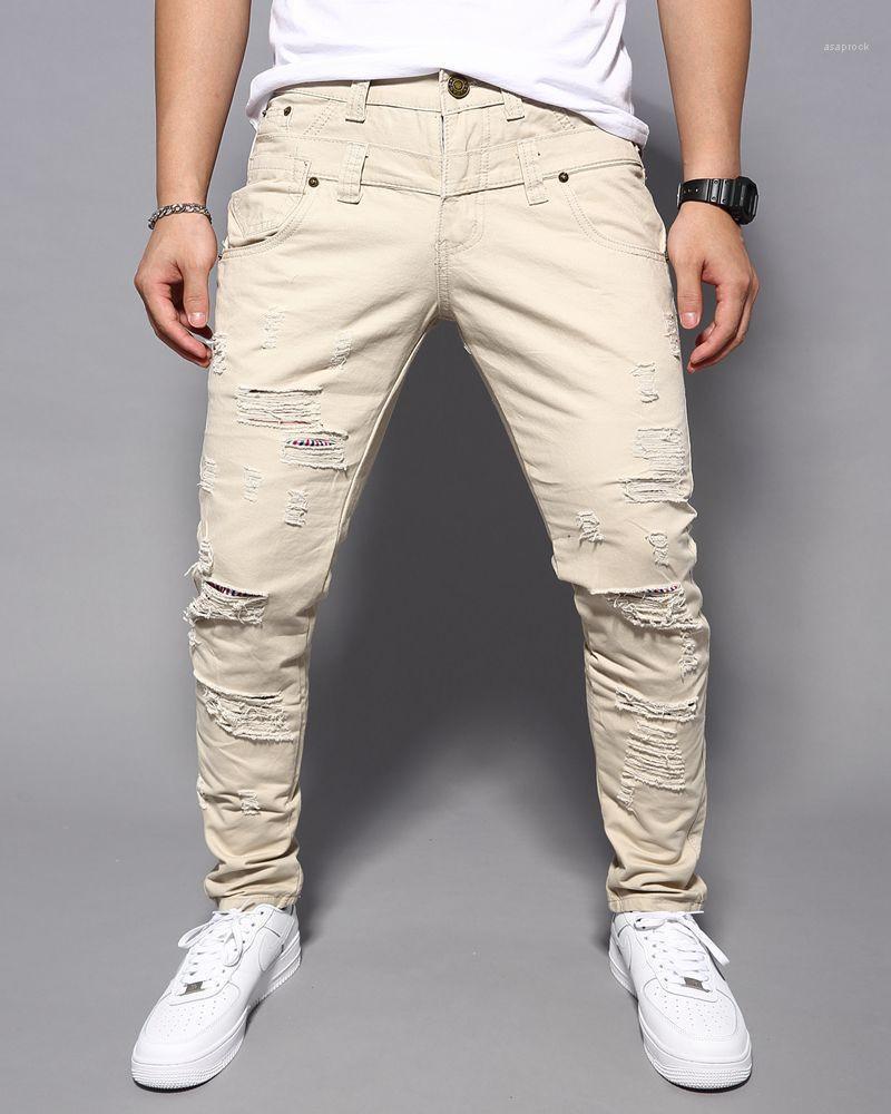 Mens Pantaloni Moda multi colore strappato Uomo Abbigliamento Uomo Designer Skinny Jeans lunghi Corgo Casual Street Style