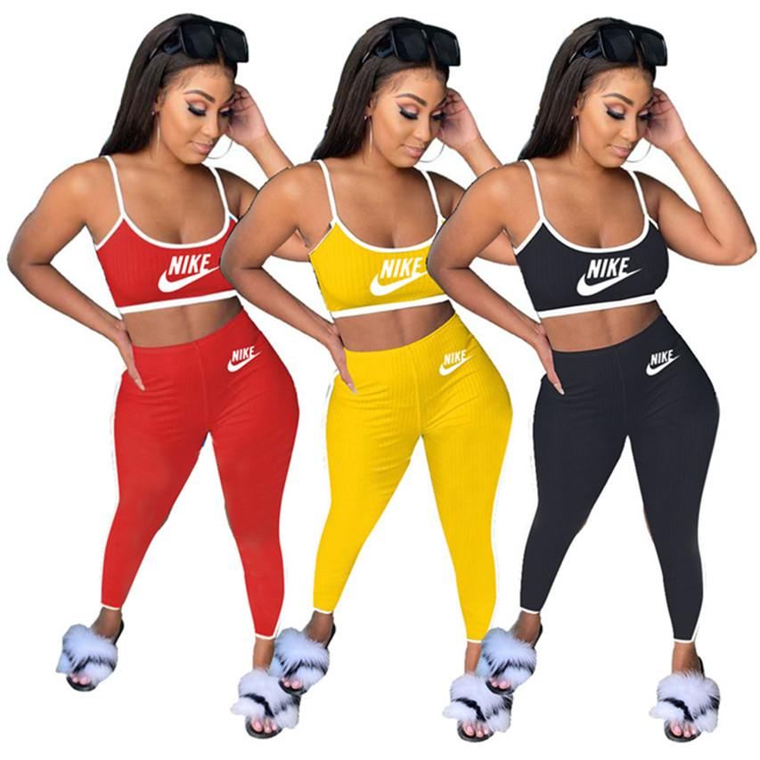 Women Designer Tanks Legging Jogger suits 2 Piece Sets outfits brand crop tops pants tracksuits Camis Tights Sport suit Summer Clothes 3654