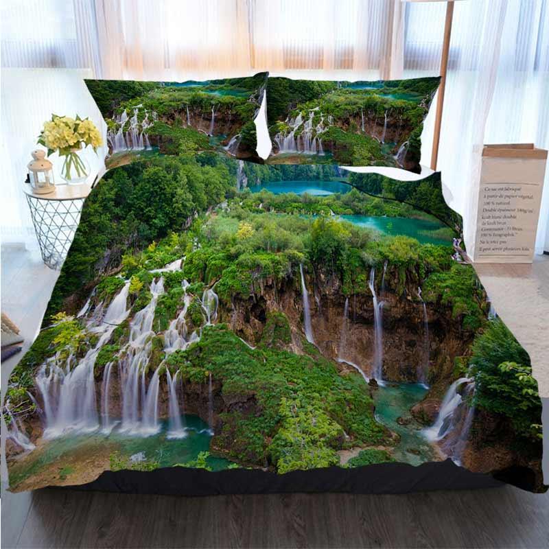Yatak 3 Adet Nevresim Plitvice Ana Şelale Bahar Yorgan Yatak Yorgan Yatak Setleri