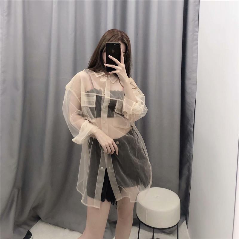 New women sexy pocket decoration transparent mesh blouse long sleeve smock shirts leisure sunscreen chemise blusas tops Plaid jacket