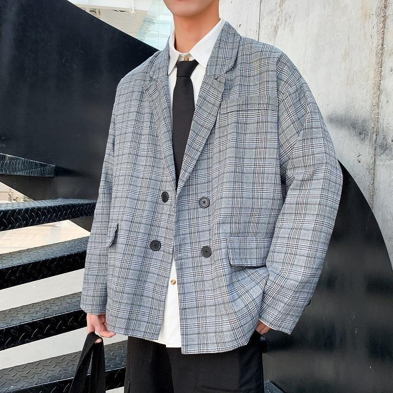 LW4I2 Nueva populares tela escocesa de moda traje floja coreana otoño e invierno chaqueta pequeña chaqueta informal ins juego de los hombres de moda de estilo de los hombres