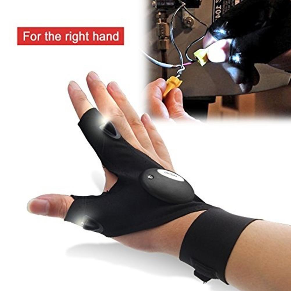 두 손가락 장갑 두 LED 손전등 토치, 매직 스트랩면 야외 물고기 장갑, 야외 어둠 상황 구조 장갑