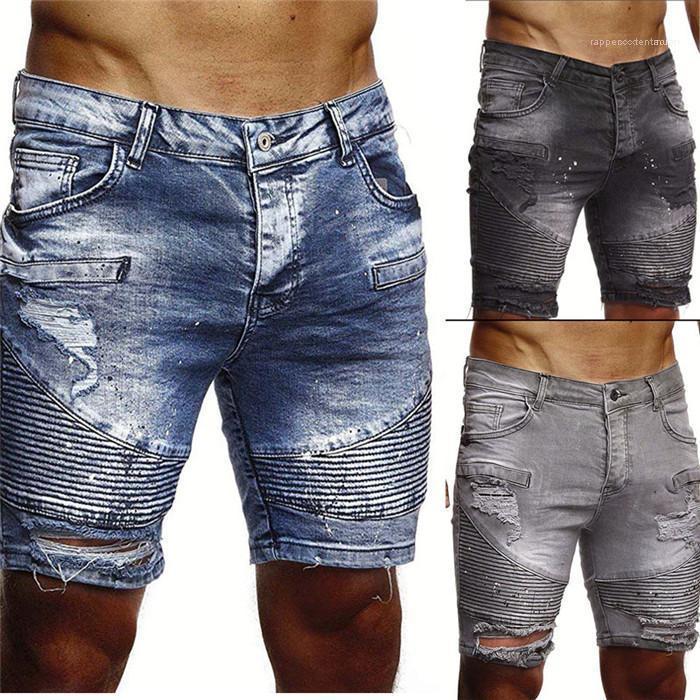 Slim Fit curta de alta qualidade Solid Color Plus Size roupas Mens plissadas Buraco Demin Shorts Man Moda Verão Lavado rasgado