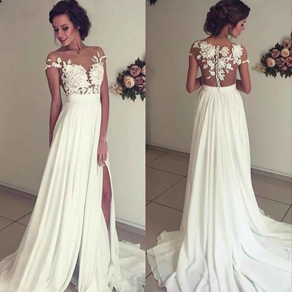 Beach Wedding Dresses A Line For Women Cap Sleeve Chiffon Lace Slit Side Dubai Arabic Boho Wedding Gown Bridal Dresses Vestido De Noiva