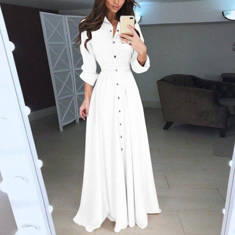 Atractiva ocasional de la solapa del vestido maxi manga larga para mujer otoño invierno sólido elegante del partido del vestido largo plisado vestidos de tacto suave bata # JS5