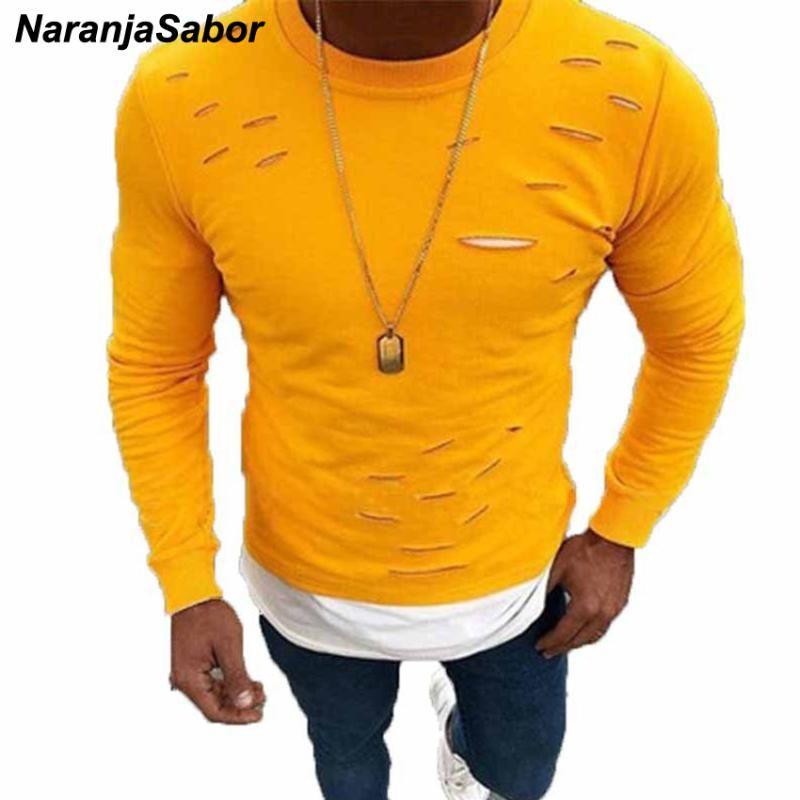 NaranjaSabor 2020 New Men's Autumn Spring Sweatshirt Solid Fashion Casual Slim Shirts Mens Brand Clothing Male Long Sleeve N547