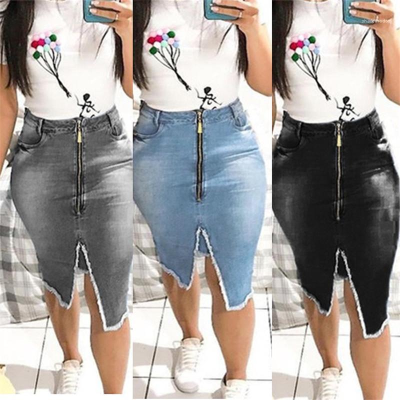 Uzunluk Kalça Etek Kadın Tasarımcı Lüks Giyim Yaz Kadın Tasarımcı Denim Etek Orta Bel Katı Renk Baskılı Fermuar Diz