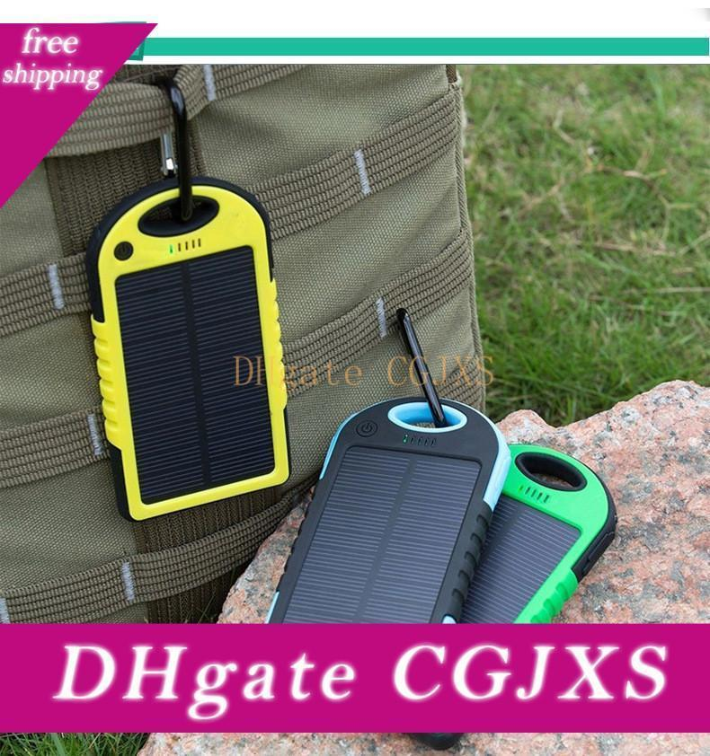Dual Usb Universal 5000mah Solar Charger Waterproof Solar Panel Battery Chargers For Smart Phone Pad Tablets Camera Mobile Power Bank