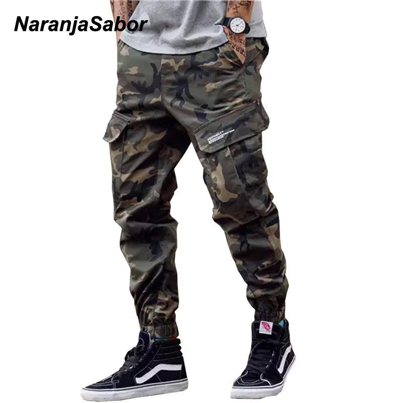NaranjaSabor Mens Camo Tooling calças estilo 2020 Primavera camuflagem multi Pockets Calças Masculino Marca Vestuário Plus Size 46 N646