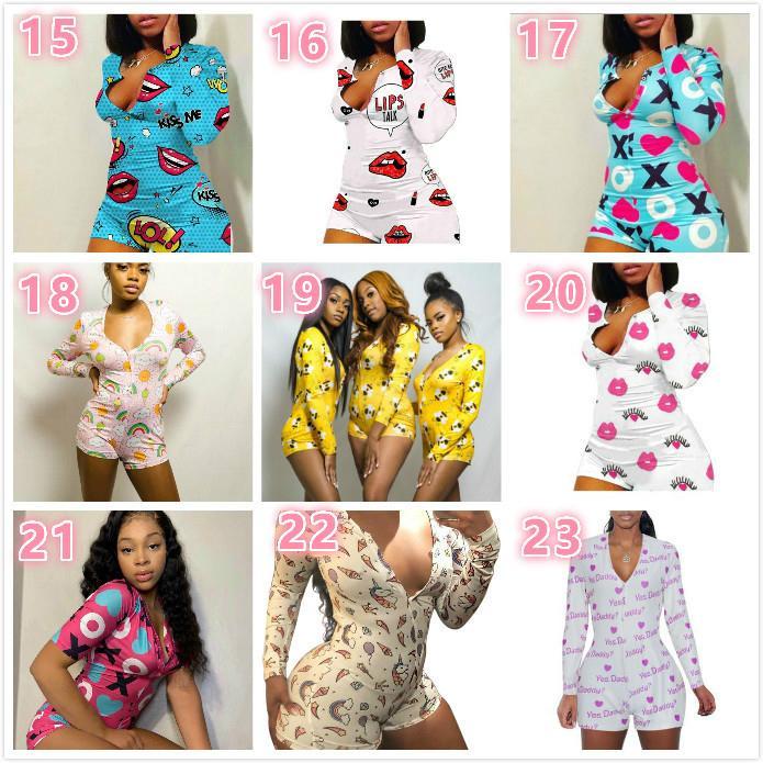 Mujeres del mono pijama Bodies ropa de dormir Playsuit botón del entrenamiento flaco de dibujos animados de impresión con cuello en V Onesies corta de las señoras de los mamelucos 2020