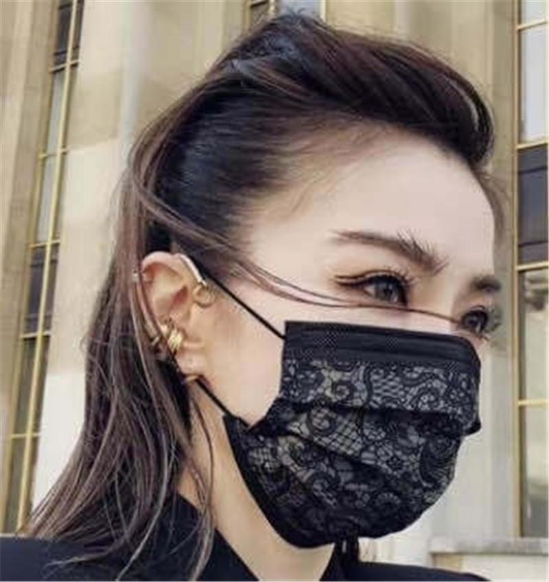 Pizzo Moda Stampa monouso Maschera per il viso maschere monouso faccia nera Non Tessuto Maschera anti-polvere usa e getta maschera di protezione a tre strati 50pcs