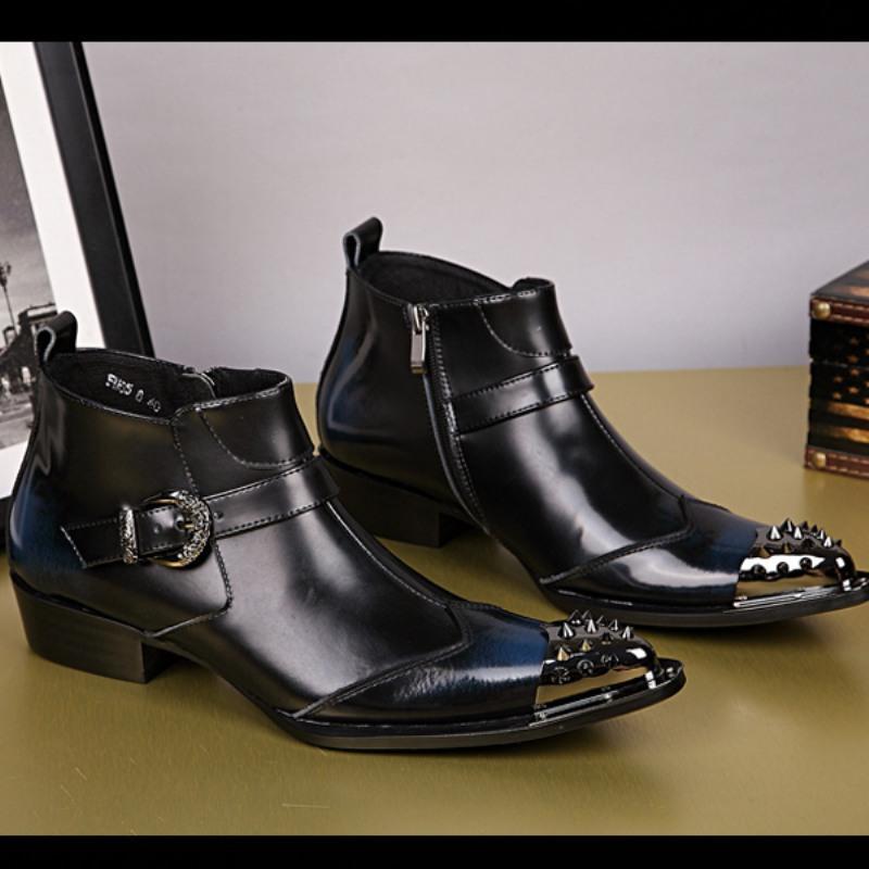 New Winter warme Schuhe Buckle Herren Stiefeletten Punkniet Spitzschuh-Partei-Kleid Boots Männer echtes Leder-Motorrad-Short