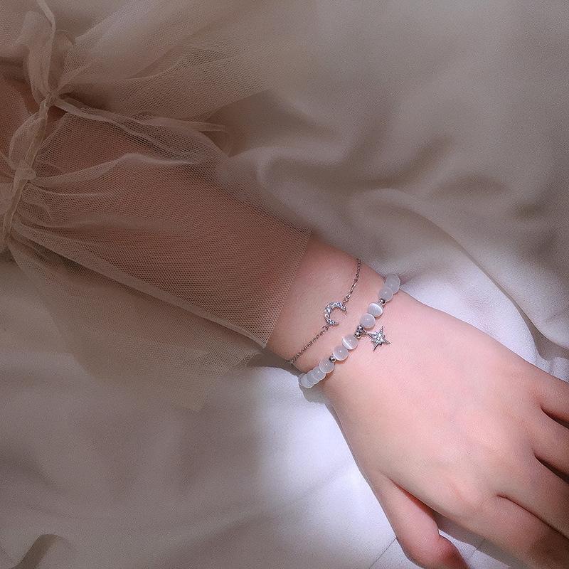 Estrela da lua de dupla camada de prata ins estilo frio pulseira projeto nicho simples personalidade celebridade on-line de opala mulheres pulseira estilo coreano 9hCO