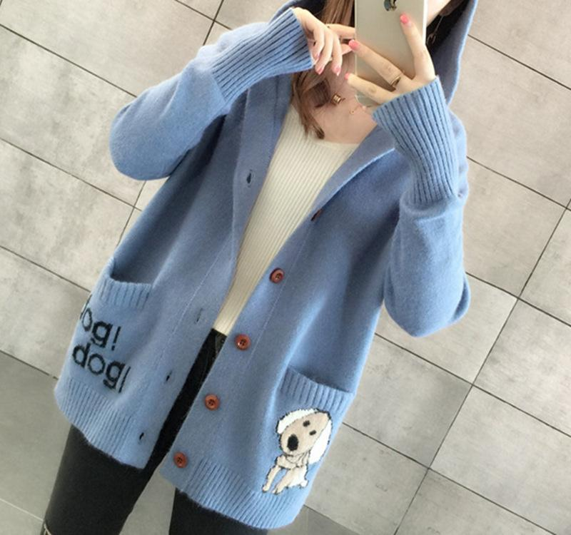 2020 Cartoon Hooded Knitted Cardigan Women Flim Loose Woman Sweater Outerwear Women Cardigan For Spring Long Sleeve Knit Tops CX200810 From Muyuxia,
